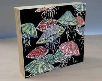 Jellyfish art panel. Nautical Jellyfish home decor. Coastal jellyfish art print. Jellyfish poster. Jellyfish print. Ready to hang art panel.