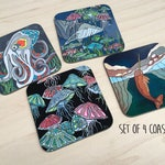 Nautical creature Coasters. Set of 4. Coastal art. Nautical houswares. Coastal kitchen decor. Octopus bar accessories. Whales. Narwhal.