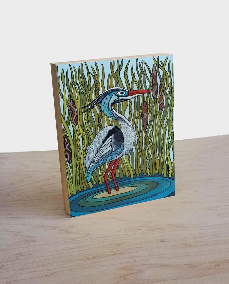 Blue Heron wood panel art print  Blue Heron in the march wall decor  Blue  Heron print  Whimsical nautical art  Pacific Northwest art print