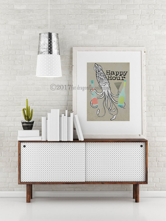Mid Century tail squid print. Nautical retro squid wall art.Nautical on transitional home bars, built in home bars, sports home bars, wood boat bars, gothic home bars, beautiful home bars, gold home bars, boat stern bars, pinterest home bars, beach home bars, home boat bars, industrial home bars, old-style saloon bars, black home bars, home decorating ideas bars, country home bars, coastal home bars, golf home bars, antique home bars, red home bars,