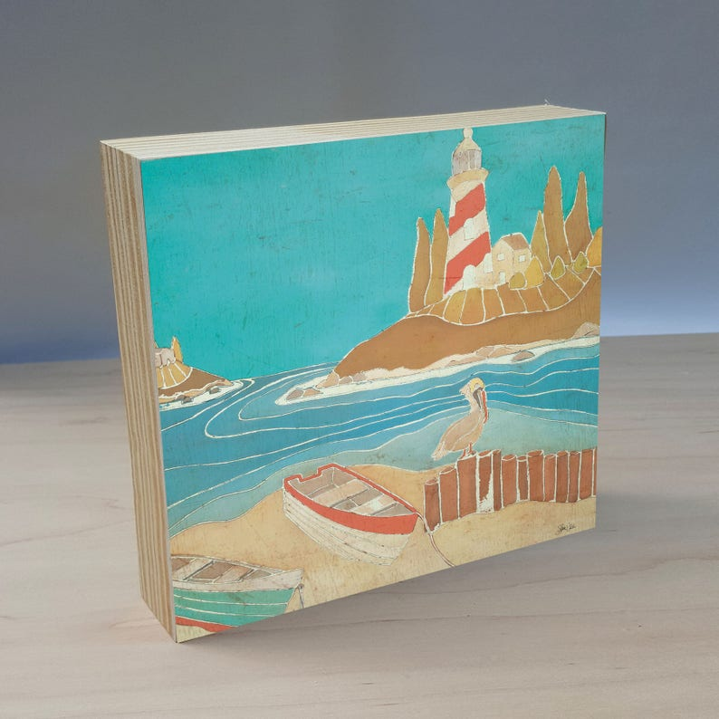 Light House, row boat and pelican art panel  Light house wall decor  Light  house and pelican painting  Pelican painted panel  Nautical decor
