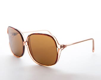 4b33629569e8 Polarized Square Women's Sunglass/ Retro / Boho Chic/70s Style/ Oversized/  Glass Lens -Jackie