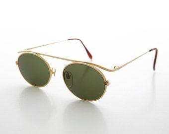 17caecef6f3e Minimalistic Aviator Vintage Sunglass / 90s / Steampunk / Grunge / Oval /  Futuristic / Floating Lens - Raven