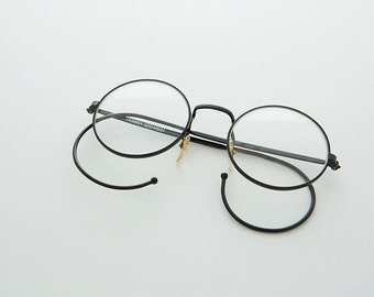 8421f1d9771 Small Round John Lennon Victorian Spectacle Vintage Eyeglasses with Cable  Temples -Rudy