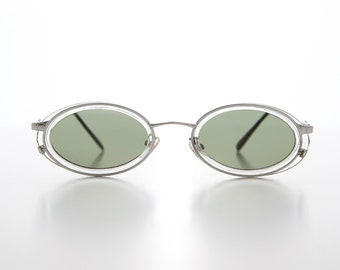 d70e307cc1 Clear Silver Oval 90s Combination Frame Vintage Sunglass   Optical Quality  Frame - Dorian