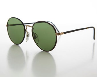 ac1b6ebcf9d Round Preppy Glass Lens Vintage Sunglass with Tube Temples and Gold Accents  - Andy