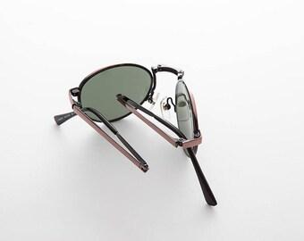 2bd2ff1c0f570 Rare Round Classic Folding Vintage Sunglasses with Case   Optical Quality  Frame - Houdini 2
