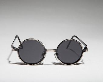 11f277bf5c Round Metal Vintage Steampunk   Goth  Punk  Hippie  90s Sunglasses - Merlin  1