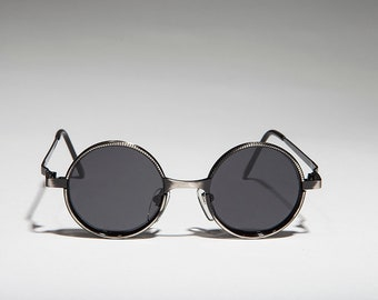 be5490e0282bf Round Metal Vintage Steampunk   Goth  Punk  Hippie  90s Sunglasses - Merlin  1