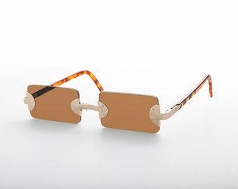 a017070c1b92e 90s Vintage BAD BOY Rare Rectangle Rimless Punk Goth Sunglasses - Rebel 2