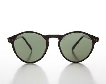 e59de2f9aac Round Retro Horn Rim Vintage Sunglass   P3 O Malley   Classic   Black  Sunglass with Green Lens - Wyatt