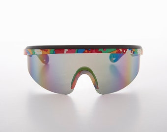 f9371d1fe12 Shield Wrap Around Vintage 80s Sunglass with Multi-Color Pattern Color  Mirror Lens - SunRa