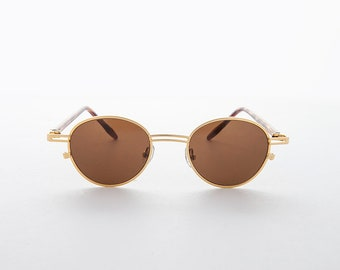 23ba4788ac Small Round Classic Vintage Sunglass with Combination Frame   RX optical  Quality - Gainsbough