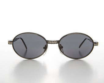 12ac178380 Oval 90s Vintage Sunglass with Metal Rope Design  Hip Hop   Optical Quality  Frame - Snuff
