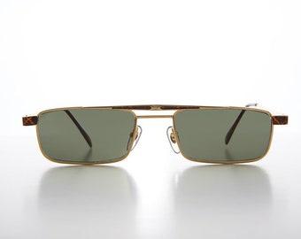 917765f974 Rare 90s Slim Rectangular Sunglass   Aviator   Gold and Tortoiseshell    Metal Optical Frame - Duke