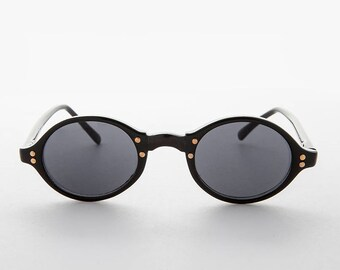 b489f762e7 Oval Small Frame 90s Vintage Sunglasses with Gold Studs - Harley