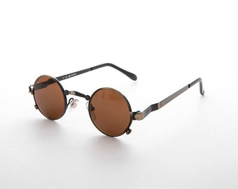 69612c9df2bcd Small Round Spectacle Steampunk Hippie Sunglasses with Z Temple -Stitchpunk