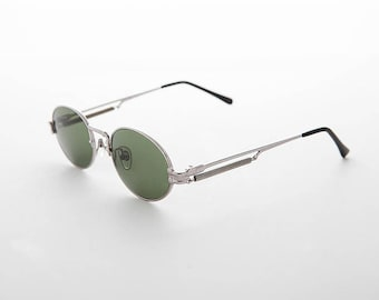ccecf0fb7ce1e Oval Steampunk 1990s Vintage Sunglass with Spring Temples   Optical Quality  Frame - Jeter