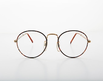 193f93a6b Preppy Polo Style Round Clear Glass Lens Vintage Glasses with Tube Temples  / Optical Quality Frame - Alex