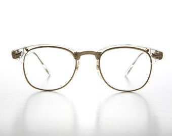 4c5a51f17f Clear Hipster Brownline Glasses   60s Retro   Horn Rim   Clear Lens -  Sanders