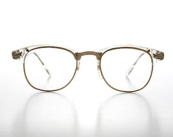 ee891ceeef46 Clear Hipster Brownline Glasses   60s Retro   Horn Rim   Clear Lens -  Sanders