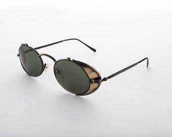 33b0de2fa6f71 Steampunk Goggle Sunglass Bronze Metal with Side Shields Vintage - Orson