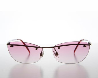 29ac801376 90s Curved Rimless Sunglasses with Color Tinted Gradient Lens - Orly