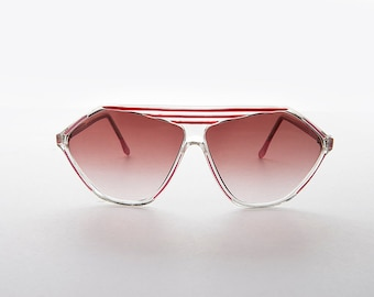 32110eb772 1980s Colored Lens Flat Top Women s Sunglass with Stripes   Pink Lens  Blue  Lens   Purple Lens- Teri
