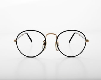 51100a63db Preppy Polo Style Round Clear Glass Lens Vintage Glasses with Tube Temples - Alex