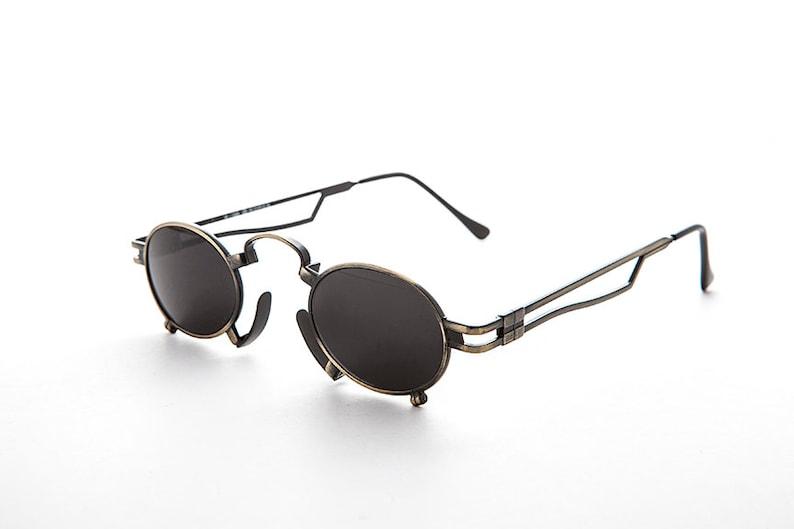 Super Rare Vintage Steampunk Sunglasses with Metal Nose Piece image 0