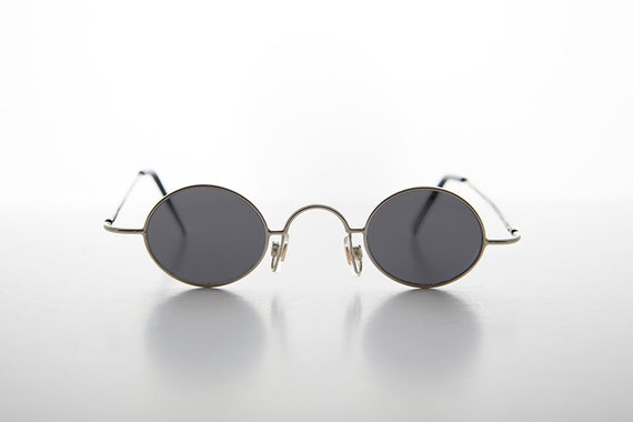42a3d238cdd2 Micro Frame   Oval Spectacle Metal Vintage Sunglass   90s