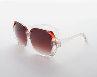 Oversized Clear Frame 1980s Women's Vintage Sunglass with Gradient Lens -Faye