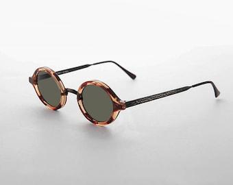 Art Deco Oval Vintage Sunglasses with Embossed Metal Temples - Degas