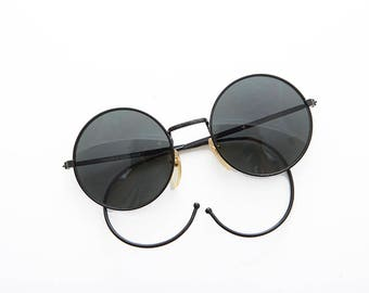 Round John Lennon Victorian Spectacle Vintage Sunglass with Cable Temples - Barton
