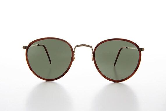 Frisco Hexagon Vintage Sunglass Brown Tortoise Frame Green Lens