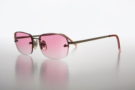 00126b8a21 Rimless Color Tinted Lens Rectangular Vintage Dead Stock