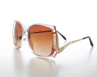 Women's Large Square Vintage Sunglass with Gold Drop Down Temples -Candy