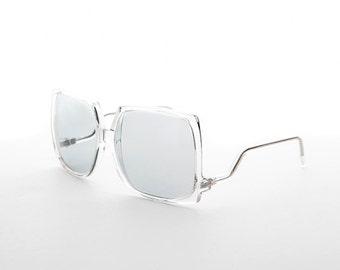 80s Women's Oversized Square Boho Vintage Sunglass Transition Corning Glass PhotoSun Lens - Twiggy