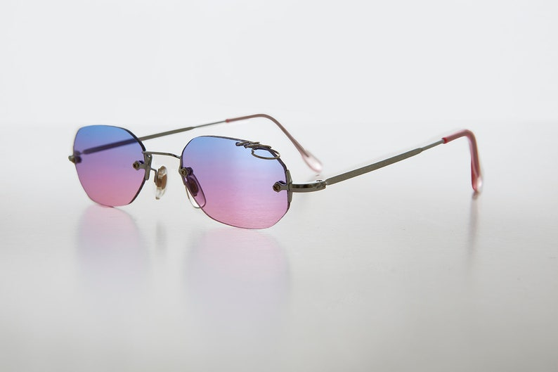 1430f47473442 Octagon 90s Rimless Silver Sunglass Color Tinted Triple
