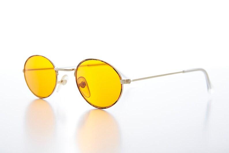 ff25fd1481 Oval Yellow Lens Blue Blocker Hippy Vintage Sunglass Mellow