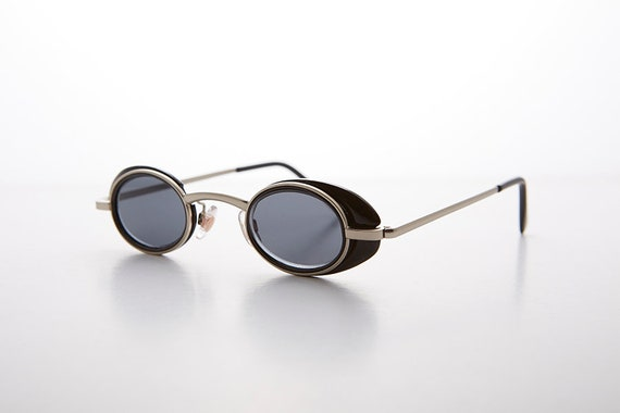 b5deedee53a9 Small Tiny Frame Steampunk Spectacle Vintage 90s Sunglasses