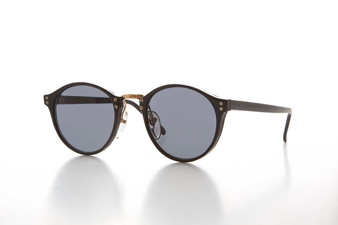 Classic Round Pantos Vintage Sunglass with Metal Bridge / Optical Quality Frame - Luca