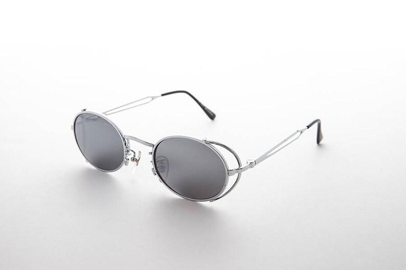 2fa6baf9db 90 s ovale Goth Steampunk Vintage lunettes de soleil avec côté | Etsy