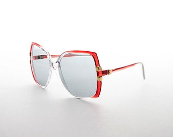 Oversized Vintage Butterfly Women's Sunglass with Transition Glass Lens -Norma