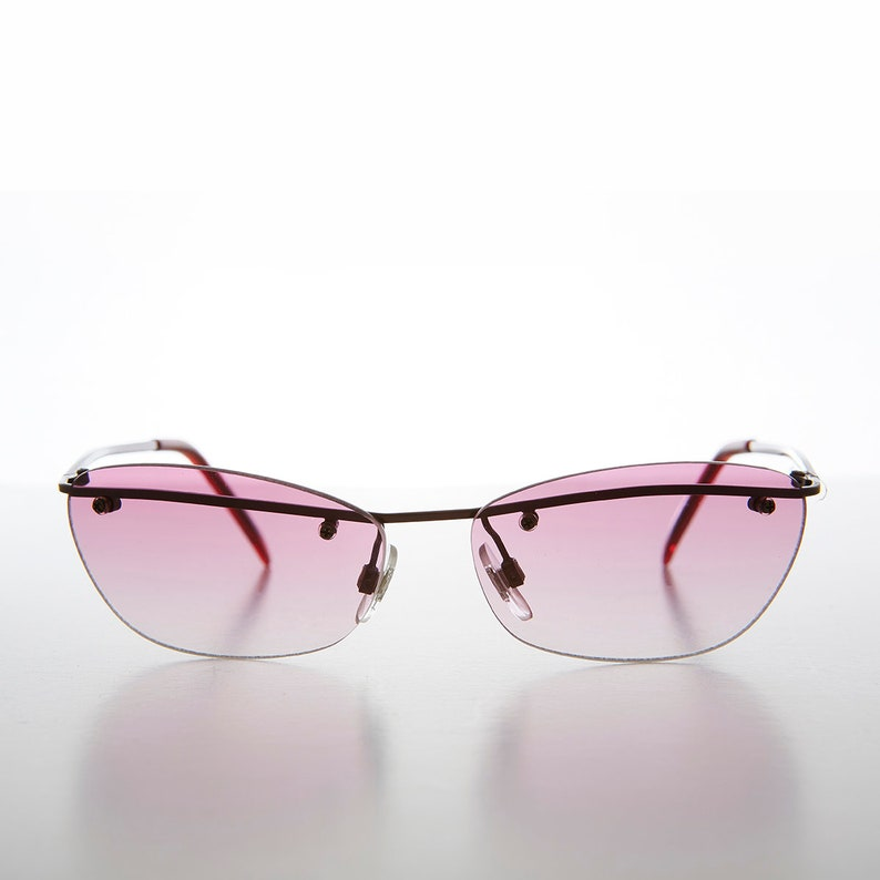 fbc4d3f311d 90s Curved Rimless Sunglasses with Color Tinted Gradient Lens