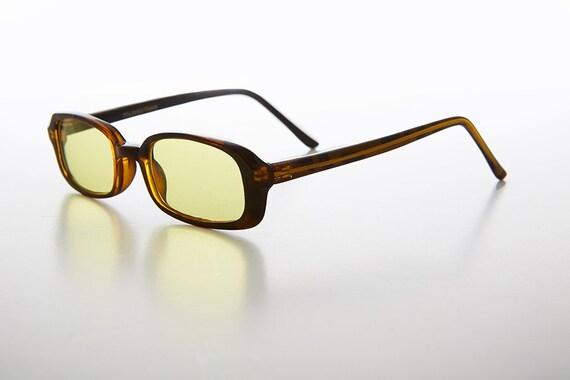 c6f15695a34 90s Slim Rectangle Hippie Color Tinted Lens Sunglass Cobi