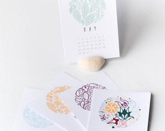 2018 CALENDAR, Christmas gift, New year calendar, Printed calendar,2018 Desk calendar, Wall calendar, A7 A6, A5, A4 calendar, Modern, Pastel