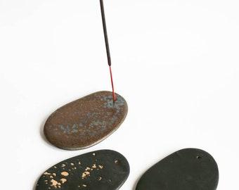 Ceramic incense stick holder, Black and bron flat incense holder, Christmas gift, Handmade ceramics, Modern ceramics, Home sweet home, Hygge