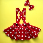Overnight 1-2 days Red Pink polka dots criss cross suspenders circle SKIRT ONLY, Minnie Mouse birthday outfit with a matching hairbow, Baby
