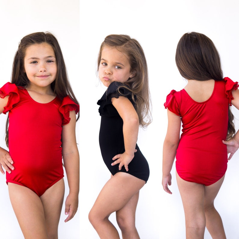 c14f99ef9801 Black pink red leotard ruffle short sleeves for ballet